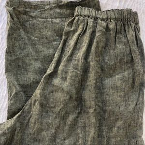 Flax linen green wide leg Capri pants size 1G